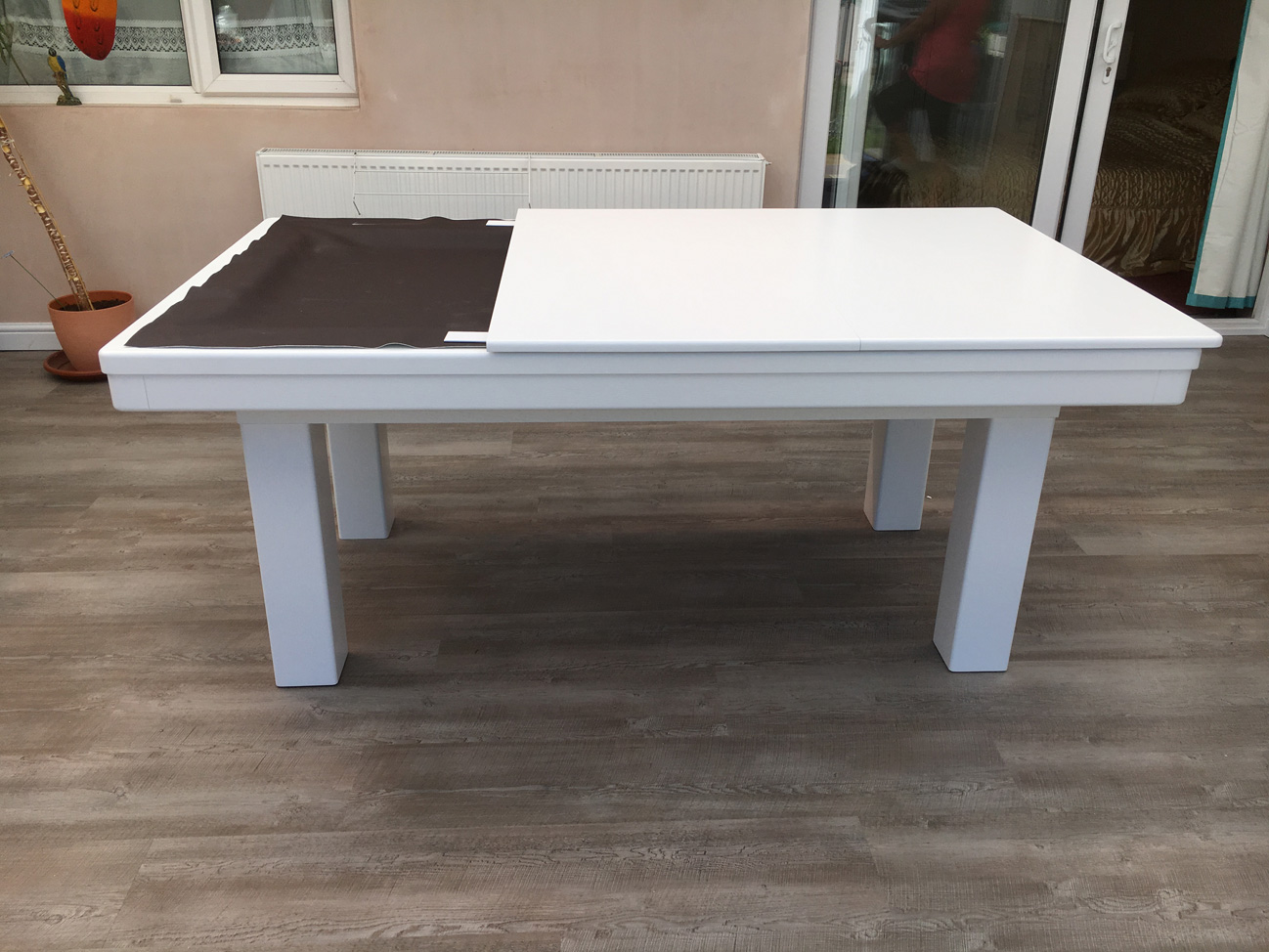 6 Ft Square Dining Table Modern 6ft Pool Dining Table In White Silver Pool