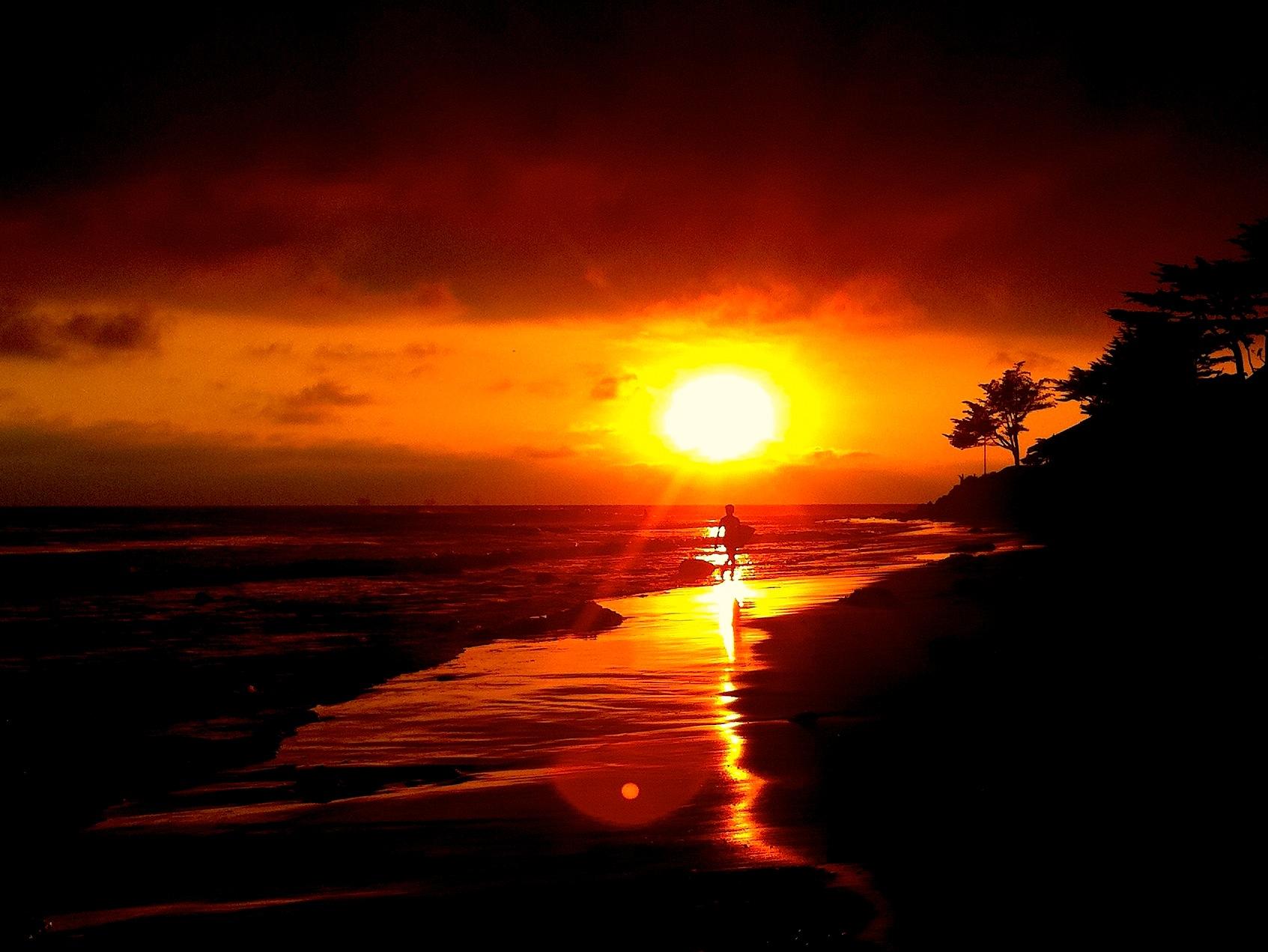 Iphone Wallpaper Beach Girl Rincon Ca Surf Sunset Santa Barbara Snowbrains