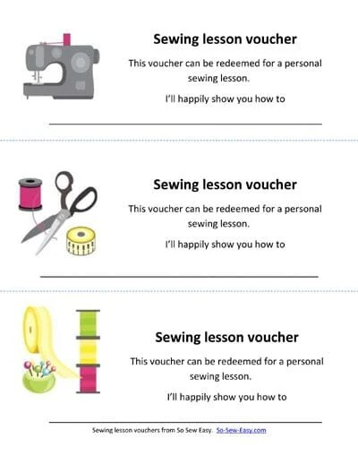 Sewing lesson vouchers to print - So Sew Easy - fun voucher template