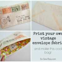 Vintage envelope zipper pouch - print your own fabric