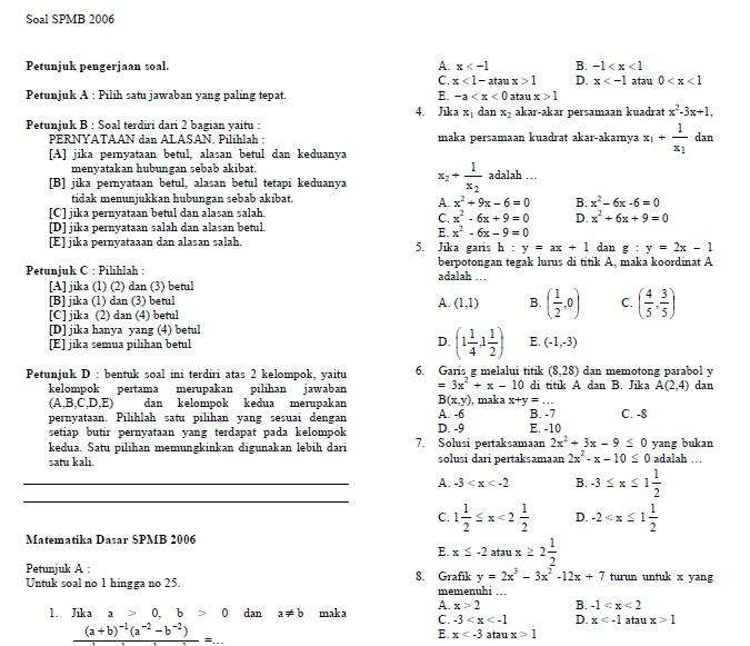 Soal Spmb Matematika 2006 Dan Kunci Jawabannya Soalujian Net