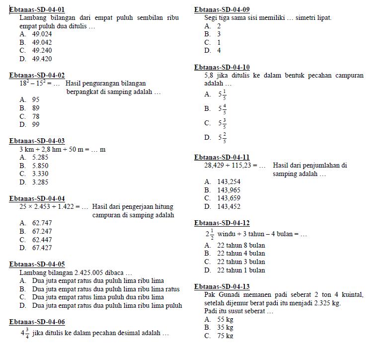 Soal EBTANAS / Ujian Nasional Matematika SD