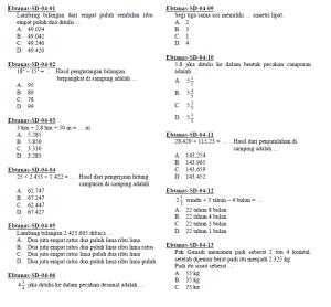 Soal ebtanas ujian nasional matematika sd 1995-2004