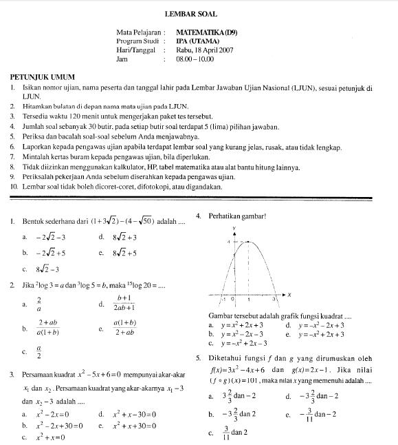 Soal Ujian Nasional Sma 2007 Matematika Bank Soal Ujian
