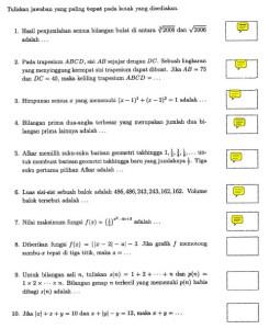 Soal OSP Matematika bagian pertama