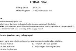 Soal Tryout Ujian Nasional SMA IPA