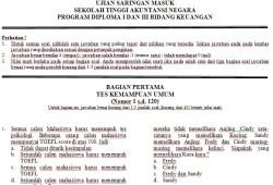 Soal Ujian Saringan Masuk Sekolah Tinggi Akuntansi Negara (STAN)