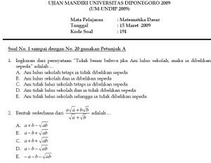 Soal Ujian Mandiri Universitas Diponegoro - UM Undip 2009