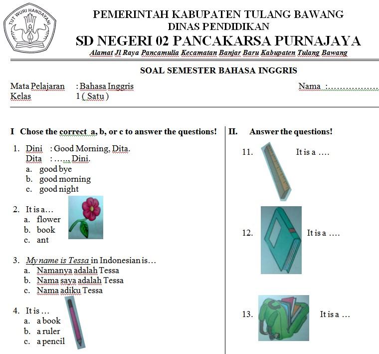 Soal Bahasa Inggris Sd Kelas 1 Soalujian Net