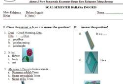 Soal Bahasa Inggris SD Kelas 1