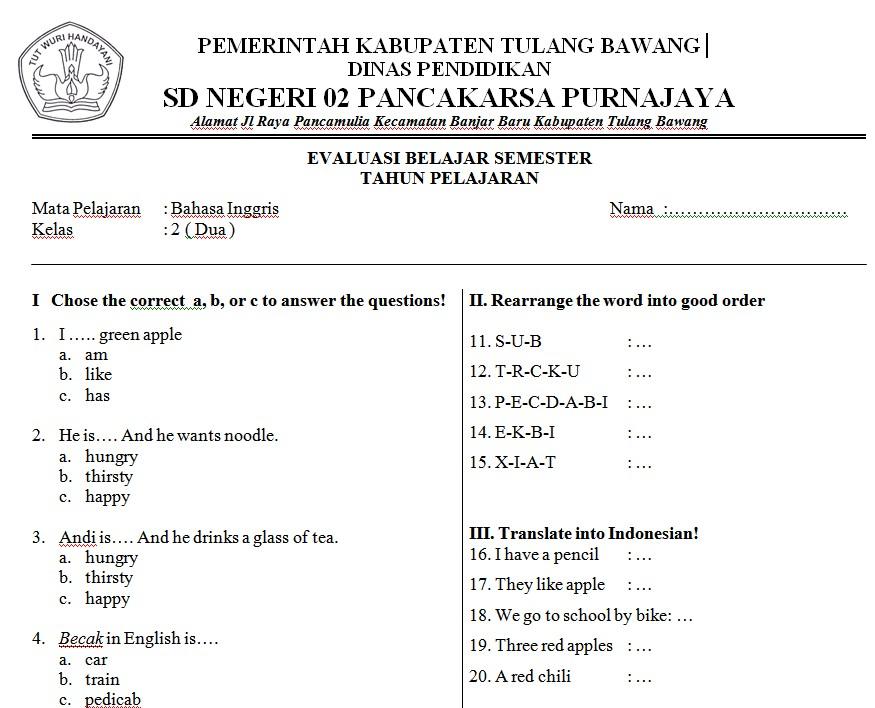 Soal Bahasa Inggris Sd Kelas 2 Bank Soal Ujian