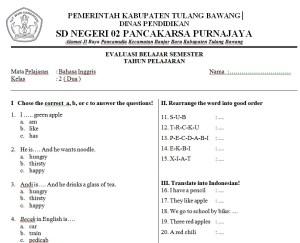 Soal Bahasa Inggris SD Kelas 2