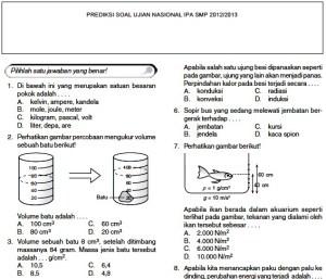 Prediksi soal ujian nasional smp 2013