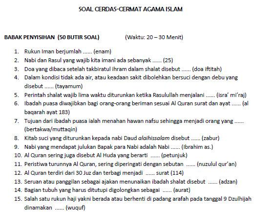 Contoh Soal Cerdas Cermat Agama Islam Bank Soal Ujian