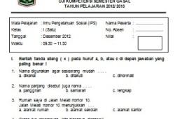 Soal Ujian Semester Ganjil IPS SD Kelas 1 2012