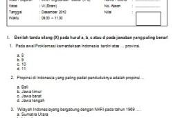 Soal Ujian Semester Ganjil IPS SD Kelas 6 2012