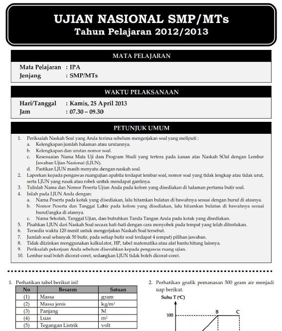 Soal Dan Pembahasan Ujian Nasional Ipa Smp 2013 Soalujian Net