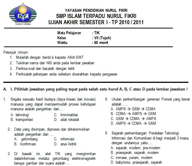 Contoh Soal Uas Tik Smp Kelas 7 Semester 1 Bank Soal Ujian
