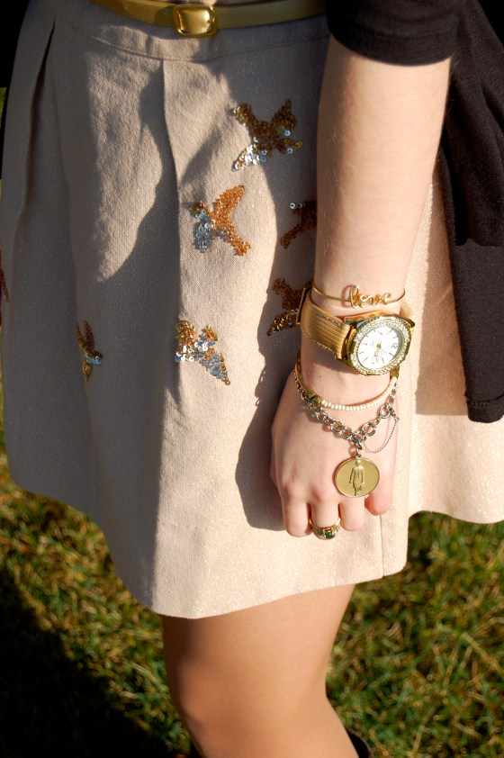 sequin bird skirt