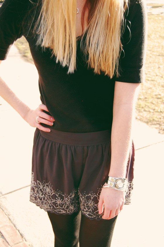 gray and silvery dressy shorts