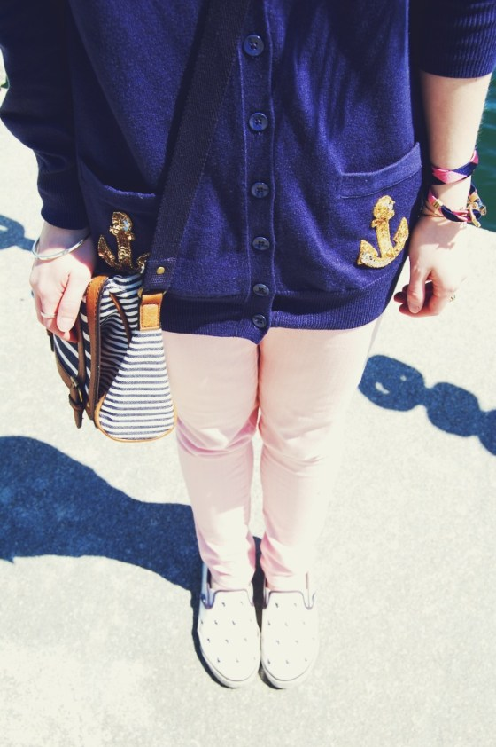 navy cardigan pink jeans