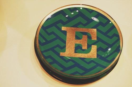 chevron gold monogram letter plates