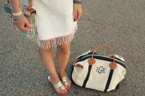 monogram navy white duffel bag
