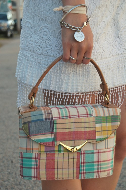 plaid bucket bag