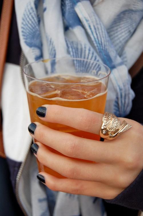 navy nail polish; fish ring