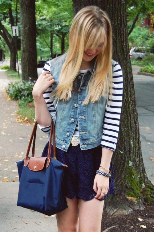 striped tee denim vest