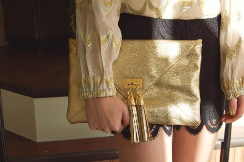 Gold Tassel Clutch
