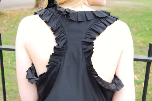 Ruffle Back Silk Tank