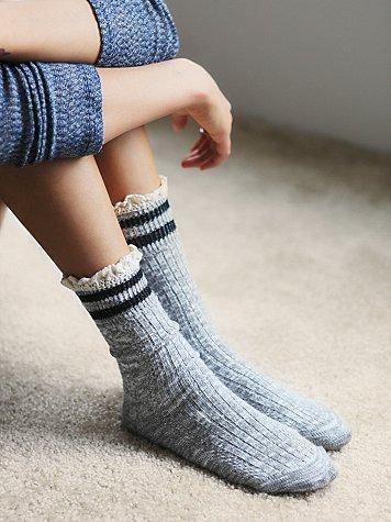 Free People Rugby Ruffle Socks