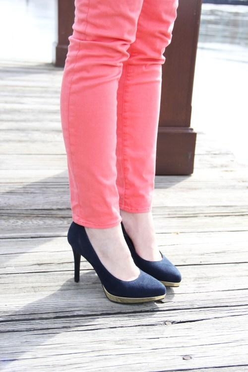 Navy Gold Heels; Coral Skinny Jeans