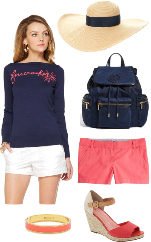 Lilly Pulitzer FIrecracker Sweater; Navy and Coral