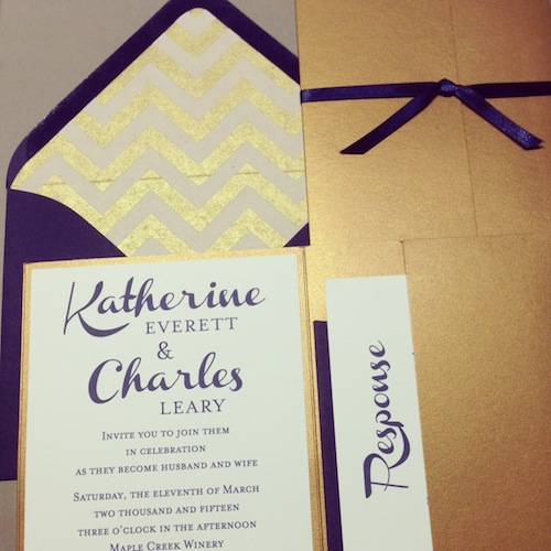 Blue and Gold Chevron Wedding