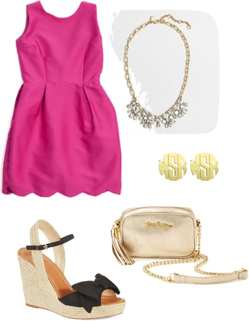 Pink Scallop Dress; Bow Wedge Heels