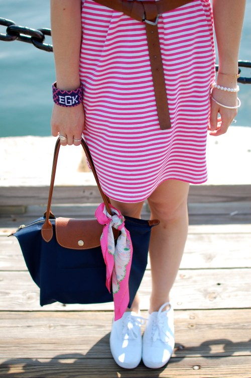Navy Longchamp Tote; Lilly Pulitzer Pop Scarf
