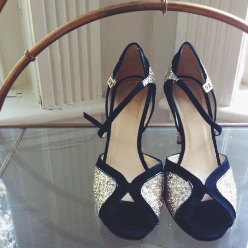 Kate Spade Gold Glitter Heels