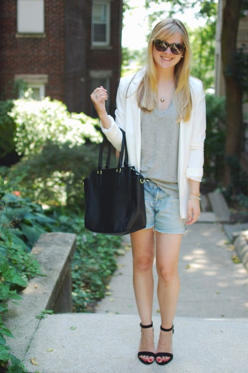 blazer + shorts + heels