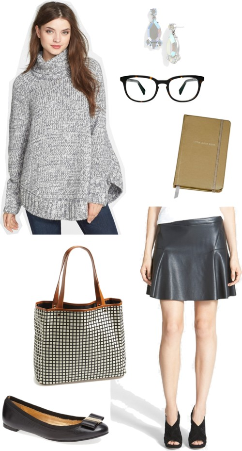 Faux Leather Skirt; Turtleneck Sweater; Nordstrom Sale