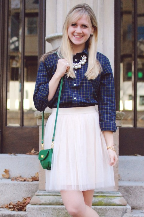 Blue Green Plaid Shirt; Pearl Cluster Necklace