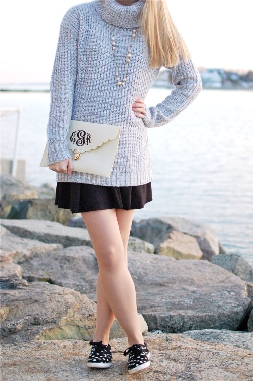 Gray Cowl Neck Sweater