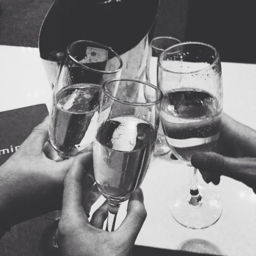 black and white champagne photo