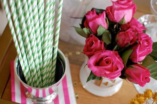 apple green striped straws