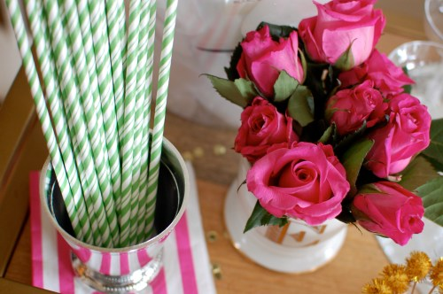 apple green striped straws