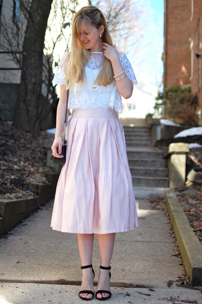 Pleated Pink Midi Skirt