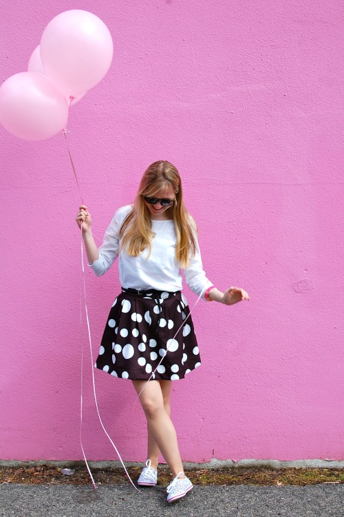 Black White Polka Dot Pleated Skirt
