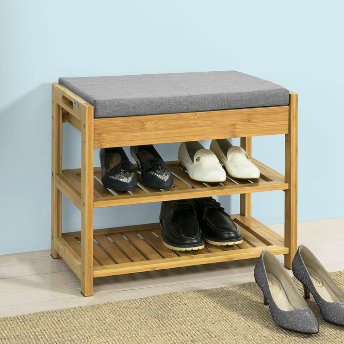 Sitzbank Schublade Sobuy® Bamboo Padded Hallway Shoe Rack Seat Bench With