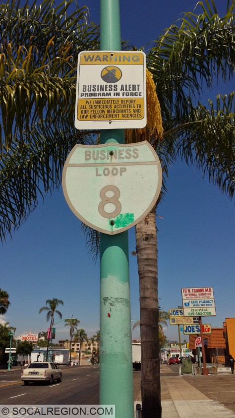 Business Route 8 signage on El Cajon Blvd. This was formerly Business US 80 after it was bypassed in the late 1950's.
